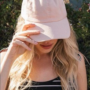 Kylie faux pink suede hat